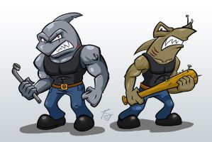 Shark Dudes by hooksnfangs