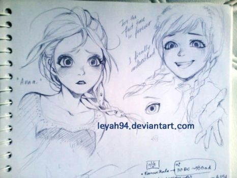 Scribble of Elsa and Anna by leyalluna