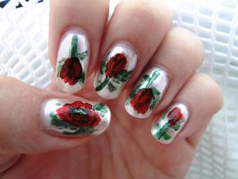 Polish Poppies Nail Art by aniapaluch