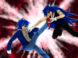 Sonic V.S. Sonic.exe by WolfKIce
