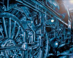 Steam Punk Blue Train by montag451