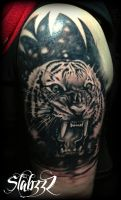 Tiger tattoo by CalebSlabzzzGraham