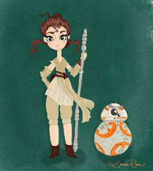 Rey and BB-8 by Louise-Rosa