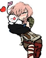 Lightining Hugging a moogle by sephicent13