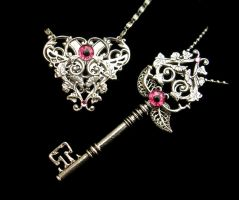 BlackLight Steampunk Gothic Heart Key Set in Pink by LadyPirotessa