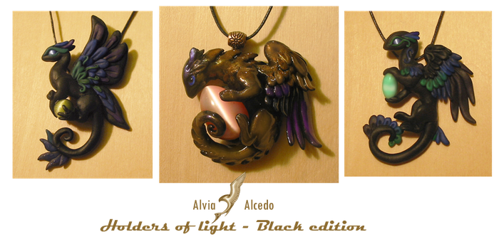 Black dragon necklaces-Light holders by AlviaAlcedo