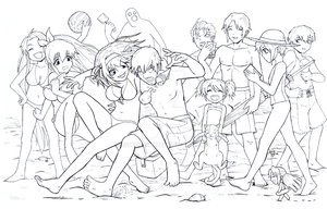 Haruhi Beach Episode line art by sykoeent