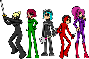 Scott Pilgrim Girls in Bodysuits by Shennanigma