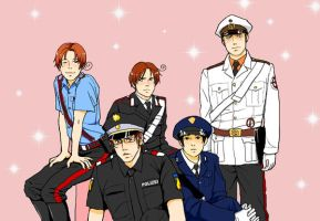 Axis in police uniforms by Inko-Dokotei