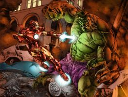 Hulk vs Iron Man by Prestegui