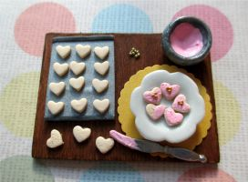 Pink Heart Cookie Prep Board - 1/12 Miniature by StarfallAtDusk