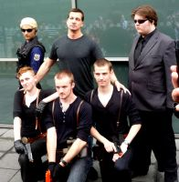 Wesker and Jake cosplayers with D.C. Douglas @ MCM by TrivialJohn
