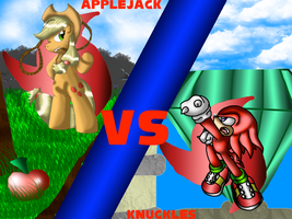 Applejack vs Knuckles by CrossoverGamer