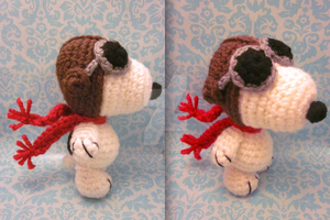 Wee Lil Flying Ace Snoopy Amigurumi Crochet Doll 2 by Spudsstitches
