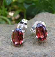 Garnet and Sterling Silver Post Earring Studs by Izile