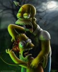 Zombie Simpsons  Digital Painting by AtomiccircuS