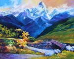Tibetan Mountains - oil by SamanthaLi