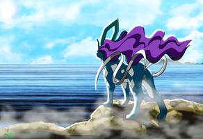 Background Practice: The Legendary Suicune Colored by JamalC157