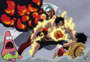 Ace Saves Luffy- Surpeised Patrick Edition by SunsetSovereign