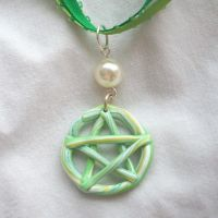 Green Yellow Pentacle Necklace by DarkFireRaven