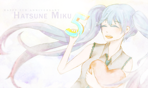Happy 5th Anniversary Miku! by cieldesuyo
