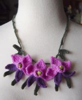 Crochet Lilac Orchid Necklace by meekssandygirl