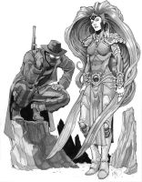 Noir Spider-Man and Medusa Commission by Max-Dunbar