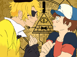 Bill Cipher and Dipper Pines by AkiraMayZeevia