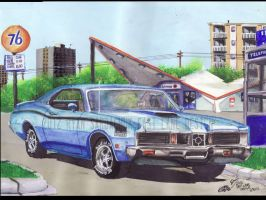 1971 Mercury Cyclone At Union 76 (Painting) by FastLaneIllustration
