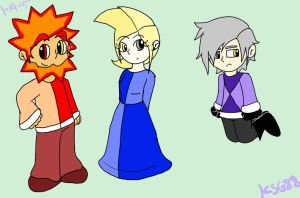 Human Brighton, Twila, and Dimentio doodle by KookyShyGirl88