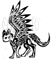 Winged Cat Tribal by KittyKatOfHyperness