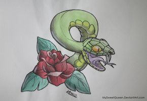 Tattoo Design: Snake and Rose by MySweetQueen