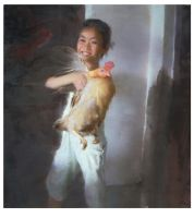 Ruo Li - A Young Girl and Her Hen by OilPaintersofAmerica