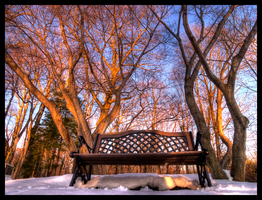 Fire On The Winter Bench by JohnKyo