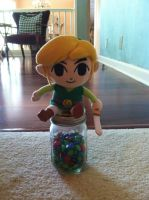 Toon Link Plushie on a Jar of M and M's by BloodstarSpyro88