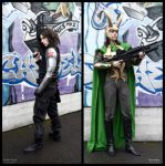 Loki + Winter Soldier Cosplay - Road to Civil War by Mon-Kishu