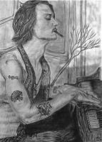 Johnny Depp playing the piano by xxxvalvasxxx