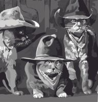 Cats in Cowboy Hats Wallpaper by Shadowind