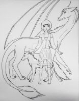 Auriel, Nyla and Moonshade by Abyssal-Dark-Wolf