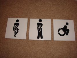 Toilet Signs Stencil on Tiles by RAMART79