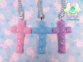 Pastel Studded Cross Necklaces by RarasJewels