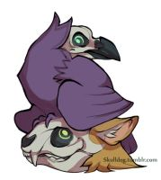 Cat and Crow Charm design by skulldog