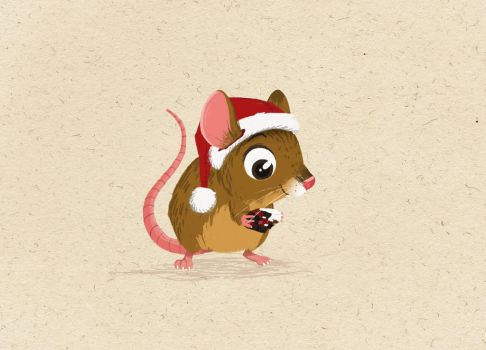 Matchstick Mouse - Christmas Pudding by morganobrienart