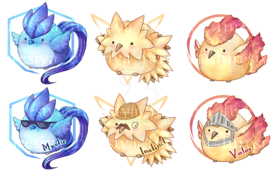 Pokemon GO- Legendary Birbs (charms for sale!) by furesiya