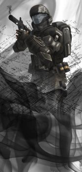 ODST ROOKIE ,OUT OF THE SMOKE by mangaman1994