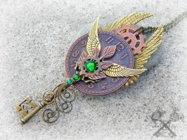 Captivating Steampunk Key to my Heart Necklace by ArtByStarlaMoore