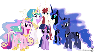 Alicorn Family Photo (Mare Version) by 90Sigma