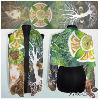 silk scarf 'Celtic Tree of Life' - commission by MinkuLul