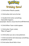 Pokemon Drinking game rules by Froodals