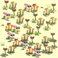 mushrooms 1 fabric by KRSdeviations
